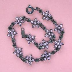 Vintage Antiqued Sterling and Pink Crystal Flower Bracelet